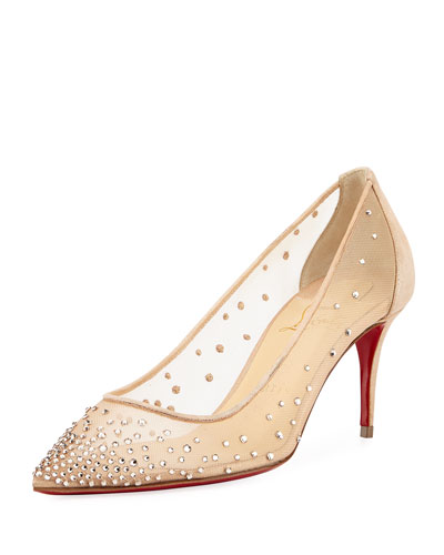 Follies 70mm Crystal Mesh Red Sole Pump