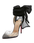 Miragirl Ankle-Wrap Red Sole Pump, Black