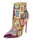 Gipsybootie Letter Blocks Red Sole Ankle Boot