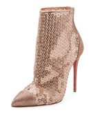 Gipsybootie Sequined Red Sole Ankle Boot