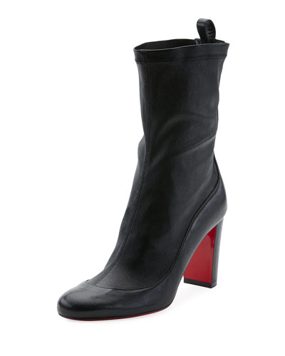 Gena Stretch Leather Mid-Heel Red Sole Boots