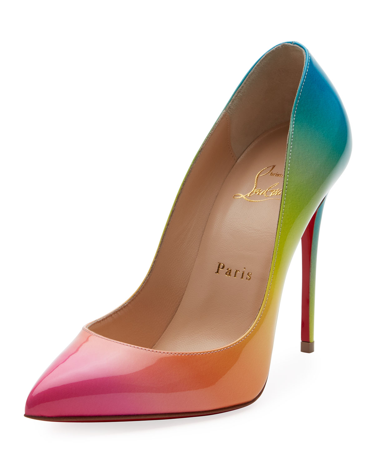 CHRISTIAN LOUBOUTIN Pigalle Follies 100Mm Ombre Patent Red Sole Pump, Multi