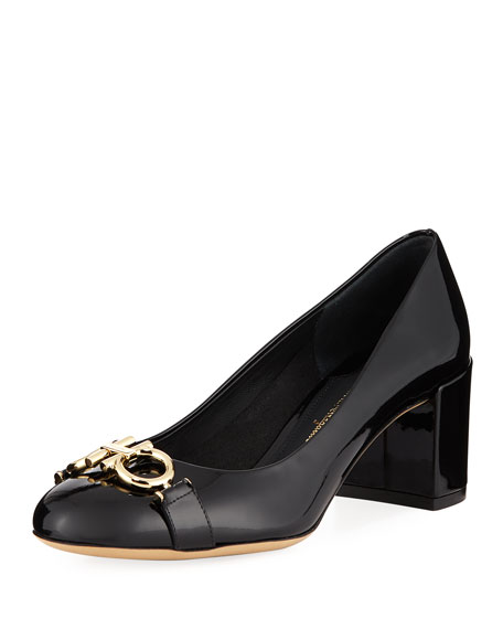Salvatore Ferragamo Gancini Patent 55mm Pumps, Nero