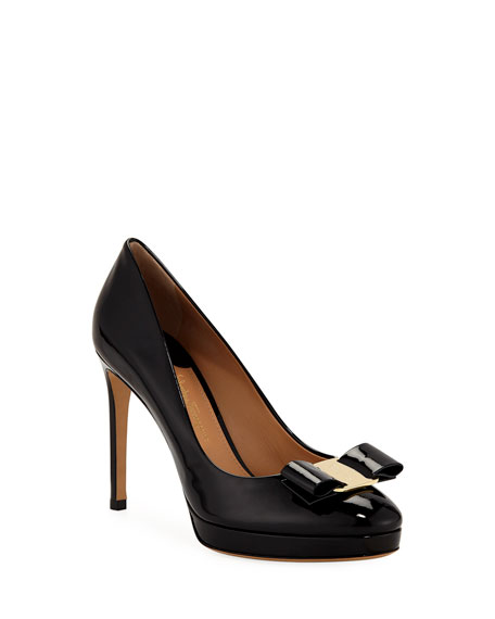 Salvatore Ferragamo Osimo Patent Platform Pumps with Vara Bow