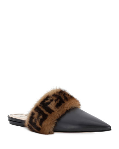 Leather Flat Mule with FF Fur Trim