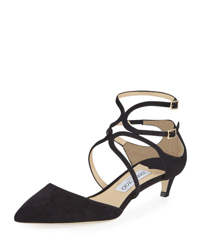 Lancer Suede Caged Kitten-Heel Pump