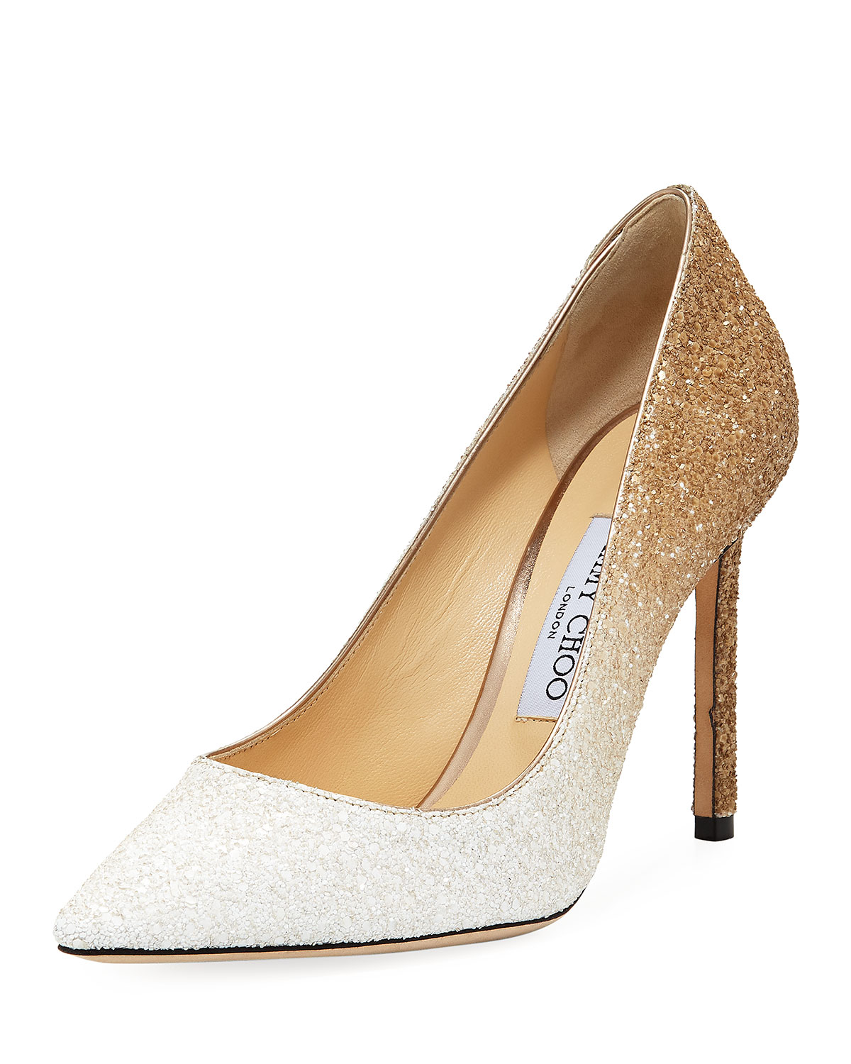 WOMEN'S ROMY 100 OMBRE GLITTERED LEATHER POINTED TOE HIGH-HEEL PUMPS