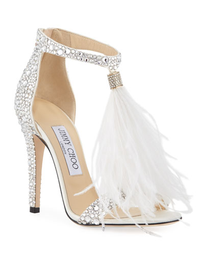 Viola Crystal Satin Sandal with Feather