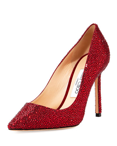 Romy 100mm Suede Pumps with Crystals