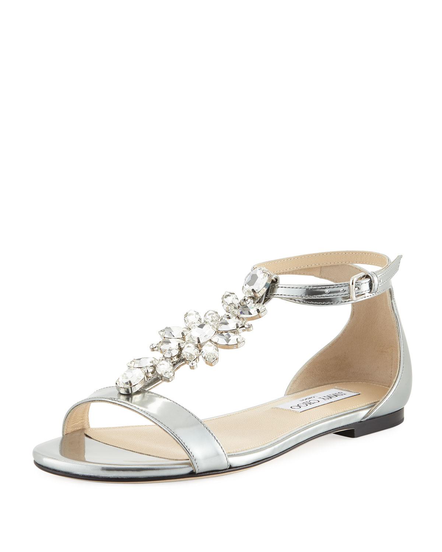 4d254882a15 Averie Flat Liquid Metallic Leather Sandal. Save. Jimmy Choo ...