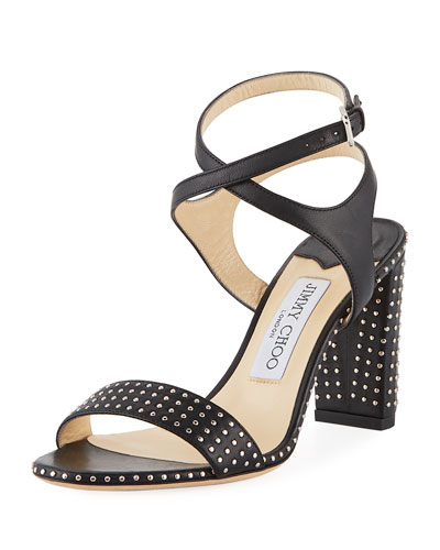 Marine Studded Leather Block-Heel Ankle-Strap Sandal