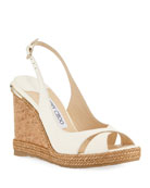Amely 105mm Leather Cork Wedge Sandal