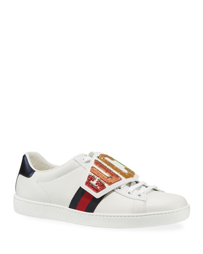 67231a9ff70 Quick Look. Gucci · New Ace Rainbow Gucci Patch Leather Sneaker