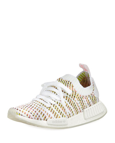 NMD R1 Primeknit Sneakers, White/Yellow/Pink