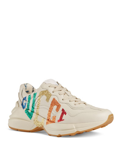 Rainbow-Logo Leather Sneakers
