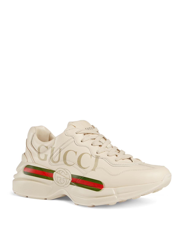 Rhyton Gucci Print Leather Trainer