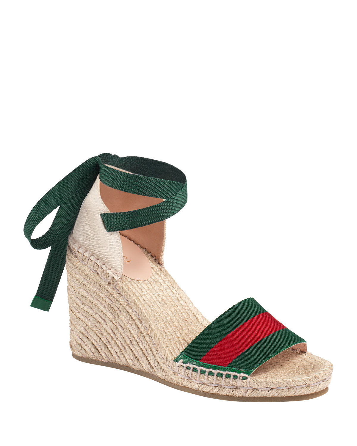 Lilibeth Striped Grosgrain And Canvas Wedge Espadrilles, White/ Green