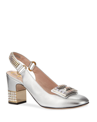 ce650518fc7 Gucci Madelyn 75mm Metallic Leather Slingback Pump