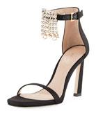 100FRINGESQUARENUDIST Satin Embellished Fringe Sandal