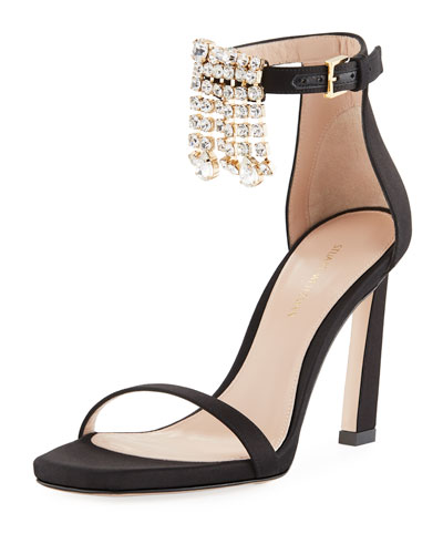 100Fringes Nudist Satin Embellished Fringe Sandal