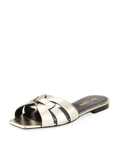 Nu Pieds Flat Metallic Leather Slide Sandal, 7100 Or Pale