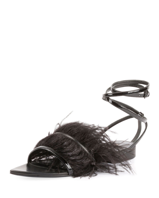 Feather-Embellished Ankle-Wrap Sandal