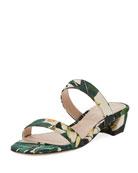 Ava Botanic Jacquard Low-Heel Slide Sandal