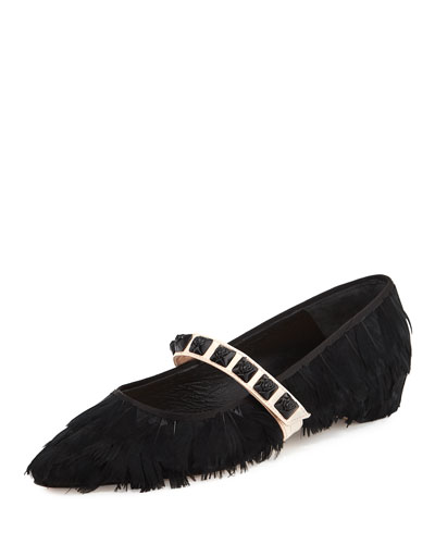 Feathery Mary Jane Ballerina Flat