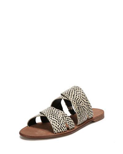 Blake Flat Snakeskin Banded Slide Sandal