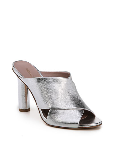 Emilyn Crisscross Metallic Mule Sandal