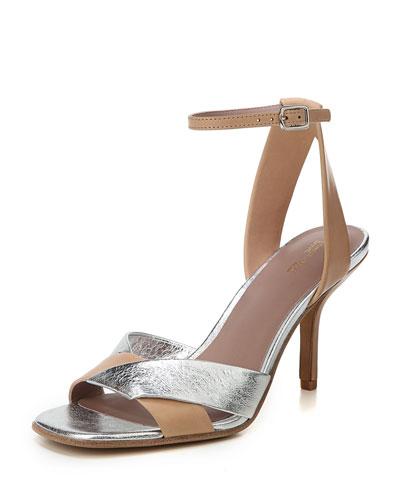 Fiona Matte/Metallic Leather Ankle-Strap Sandal