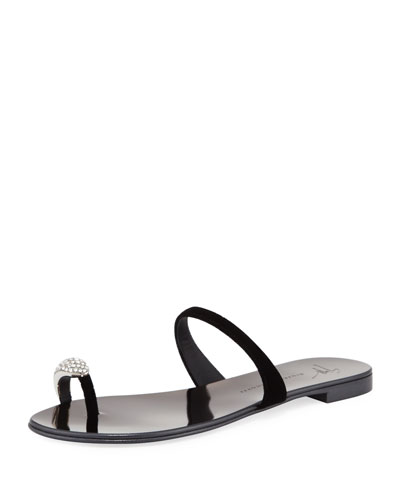 NuvoRock Velvet Flat Sandal with Crystal Toe