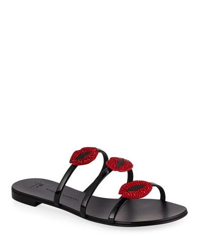 Lips Three-Band Flat Slide Sandal