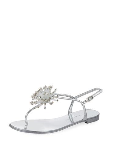 Metallic Crystal Thong Sandal