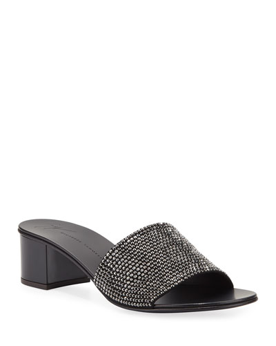 Jeweled Single-Band Slide Sandal