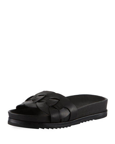 Lily Woven Ring Pool Slide Sandal, Black