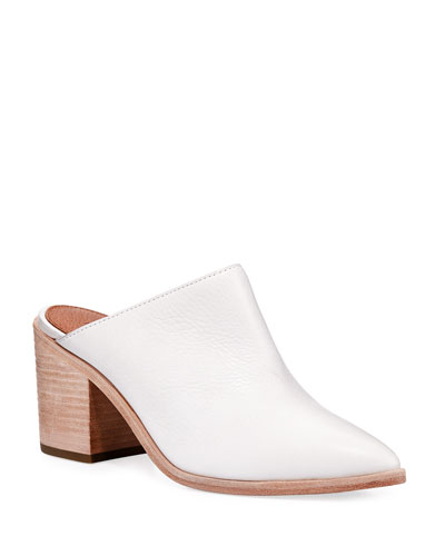 FRYE Flynn Leather Block-Heel Mule in White