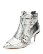 Crocodile-Embossed Metallic Bootie