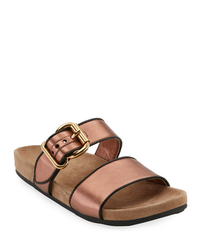 Metallic Leather Double-Band Sandal