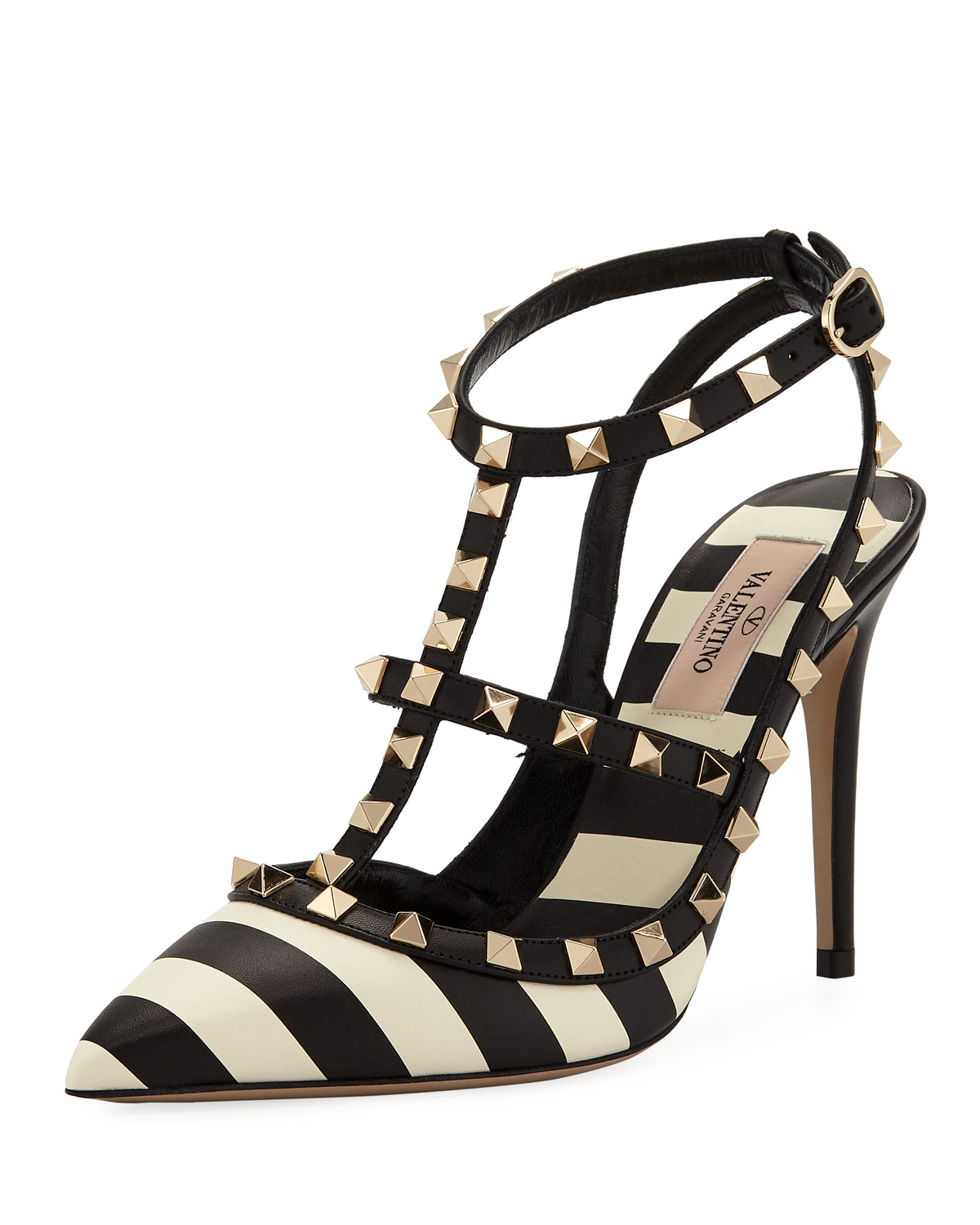 Rockstud V.Stripes Leather 100Mm Pumps in Black