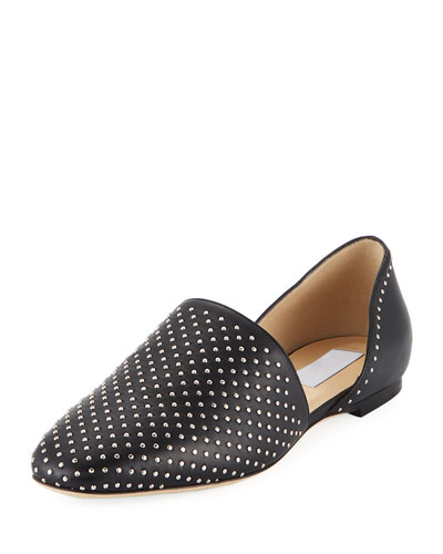 Globe Studded Leather Flat