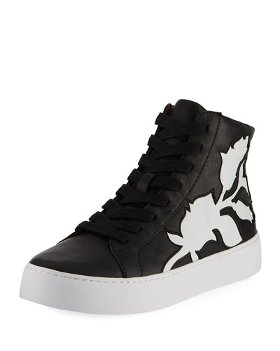 Lena Floral Leather High-Top Sneaker