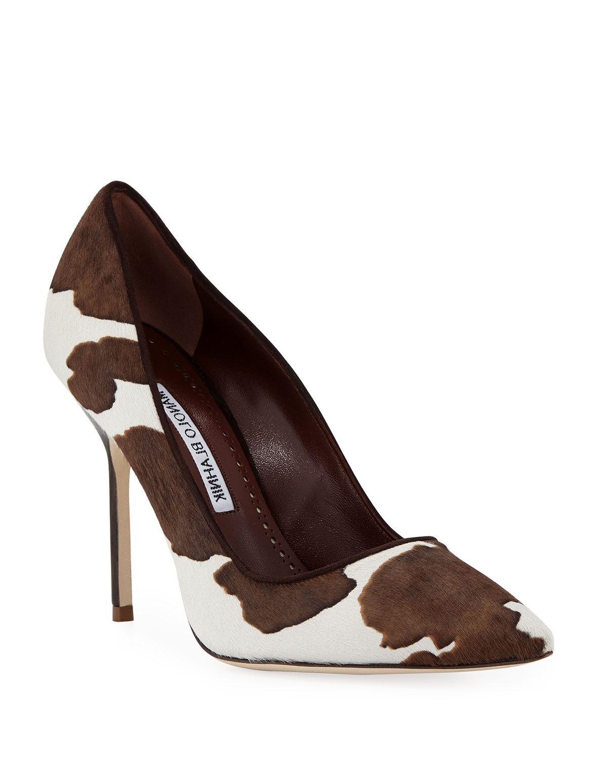 BB COW-PRINT POINTED PUMPS