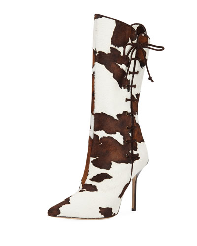 Vane Calf Hair Mid-Calf Boot with Lace-Up Detail