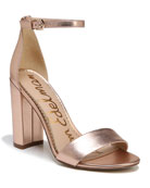 Yaro Soft Metallic Leather Chunky-Heel Sandal