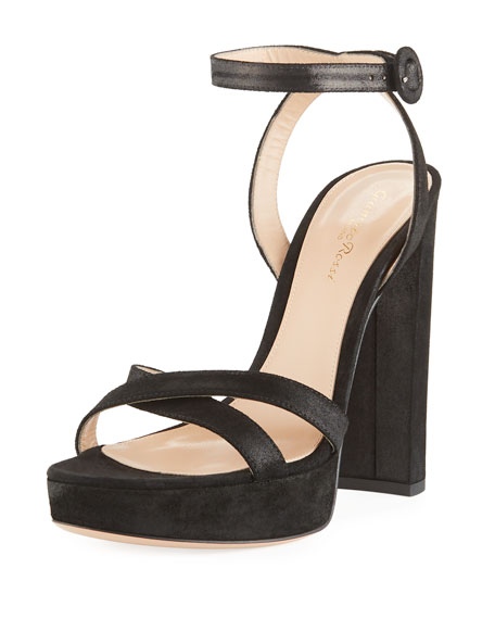 Gianvito Rossi Metallic Fabric Platform Ankle-Wrap Sandal