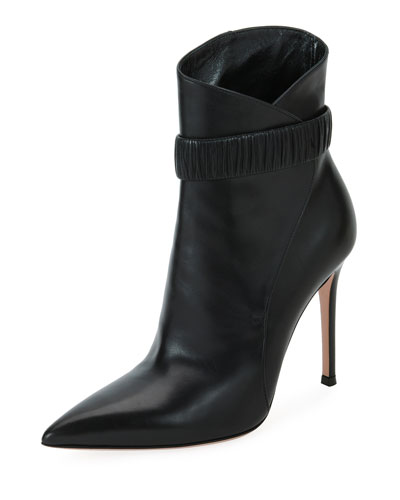Gathered Smooth Leather Bootie