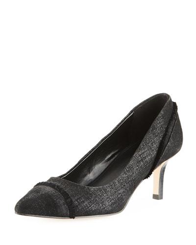 Floe Frayed Kitten-Heel Pumps, Black