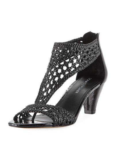 Verna Woven Low Sandal, Black