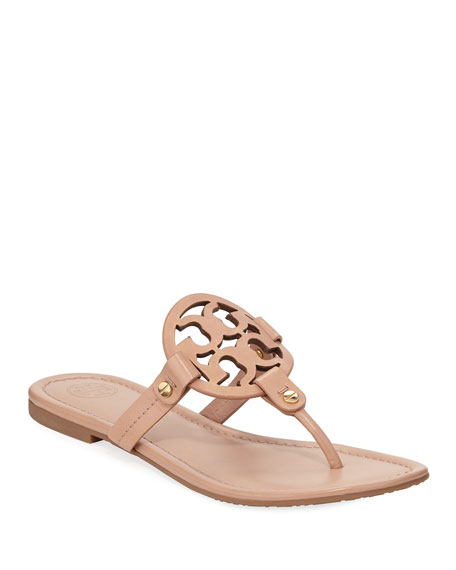 Tory Burch Miller Flat Leather Logo Slide Sandals